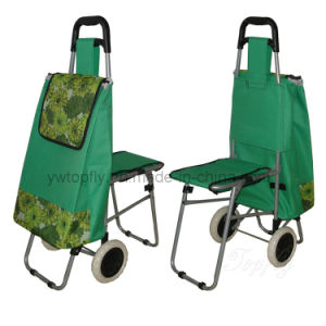 Six Wheels Foldable Climbing Shopping Trolley Bag with Stool pictures & photos