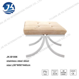 Linen Fabric Stool with Modern Design Stainless Steel Foot pictures & photos