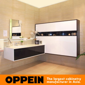 Oppein Modern Blue-Gray Lacquer MDF Bathroom Vanity Cabinets (OP15-201A) pictures & photos