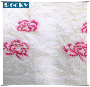 Rose Pattern Bright Nylon Lace Fabric for Fashion Garment pictures & photos