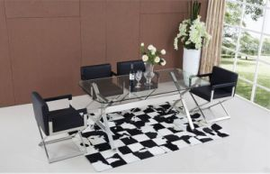 Hot Sale Glass Dining Table with Chair for Sale (SDT-005) pictures & photos