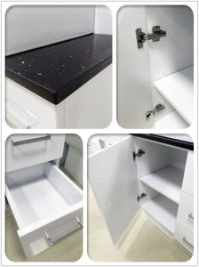 White Glossy MDF Bathroom Vanity Cabinet with Double Basin (SH31-1200WD) pictures & photos