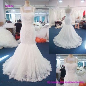 2017 Factory Wholesale Sweetheart Neckline Spaghetti Strap Trumpetand Wedding Dress with Lace Thoughtout The Dress pictures & photos