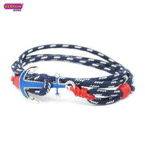 Men Nautical Sealife Sea Custom Gold Anchor Braided Rope Bracelet pictures & photos