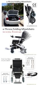 E-Throne Best Folding Electric Wheelchair for Disabled People 8′′, 10′′, 12′′ with Lithiun Battery Pack pictures & photos