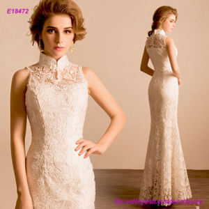 Stand Collar Sleeveless Sheath Lace Formal Evening Dress pictures & photos
