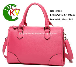 Latest & Elegant Pink PU Fashion Ladies Tote Handbag (KCH150-1) 7 pictures & photos