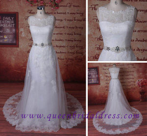 Hot Sale Luxury Lace A-Line Wedding Dress with Crystal Waist Belt.