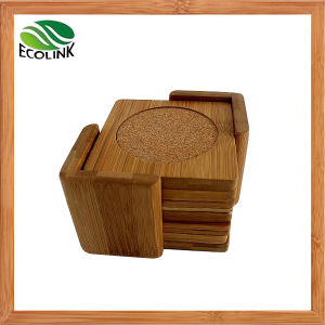 Bamboo Cup Mat Cork Coaster Set with Holder pictures & photos