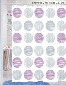 Multi-Colored Circles Fabric Shower Curtain pictures & photos