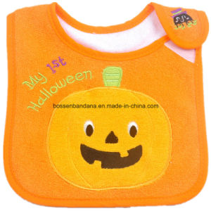 OEM Produce Customized Design Embroidered Halloween Cotton Terry Baby Bib Baby Wear pictures & photos