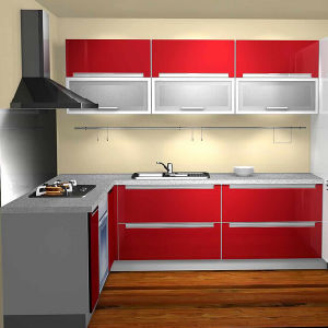 Red Finish Kitchen Cabinets