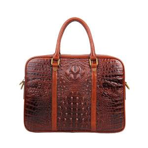 Luxury Design Brown Croc Grain Leather Laptop Bag Briefcase pictures & photos
