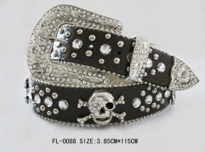 Studded Belt with Skull and Rhinestone Fl-0088