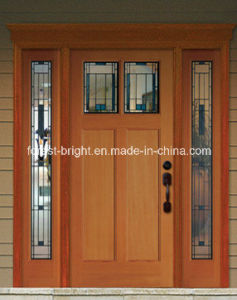 Mahogany Solid Wood Door with Glass Side-Lite and Transom pictures & photos