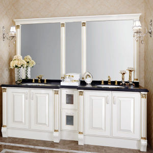 Oppein Euro 93.7 Inch Luxury White Lacquer Bathroom Cabinet (OP14-029) pictures & photos