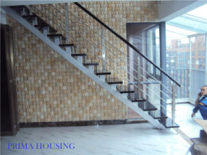 Indoor Wood Straight Staircase Free Design (PR-L14) pictures & photos