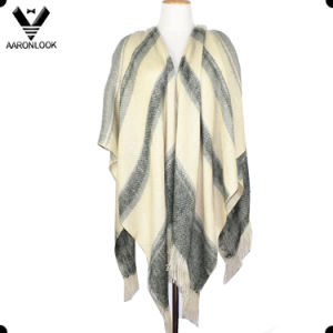 New Fashion High Quality Customized Check Patterns Cape Shawl with Fringes pictures & photos