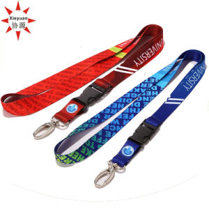 Cusom Clips Double Side Woven Lanyard with Printing Logo pictures & photos