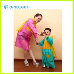Plastic Kids PVC Raincoat with Backpack (RVC-049) pictures & photos
