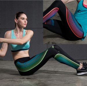 Low Price Good Quality Sublimation Printing Sweat Wicking Gym Women′s Yoga Pants pictures & photos