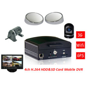 3G GPS WiFi HDD Storage Vehicle Mobile Car DVR with 4CH AV and G-Sensor pictures & photos