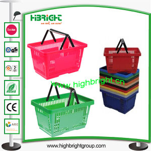 Supermarket Double Handle Plastic Shopping Basket pictures & photos