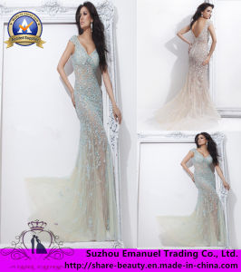2014 Brand New Empire Crystal Applique Tulle V-Neck Evening Dresses Gowns (CK030)