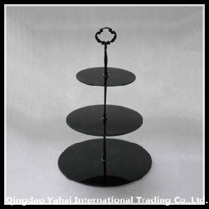 Dark Colored Square/Round Glass Display Cake Plate pictures & photos