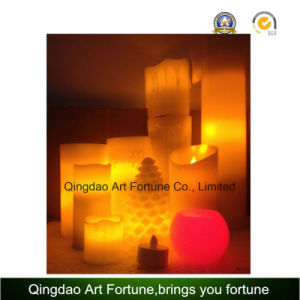 Large Beige Bisque LED Lighted Battery Operated Flameless Wax Vanilla Scented Pillar Candle pictures & photos