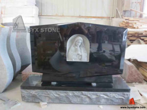 Shanxi Black Granite Maria Carving Headstone / Monument pictures & photos