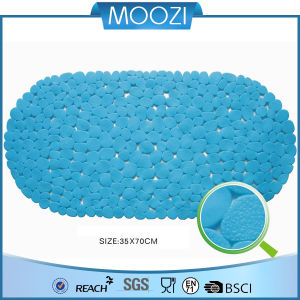 Blue Safety Stone Pebble Quality PVC Bath Mat Shower Mat China Supplier (D077)