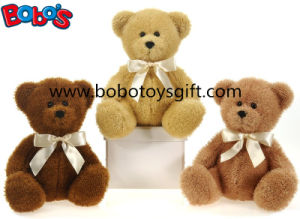 Plush Bear Toy in 3 Color with Gold Ribbon as Nice Gift for Baby Kids pictures & photos