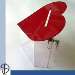 Popular Design Heart Shaped Acrylic Charity Boxes with Lock