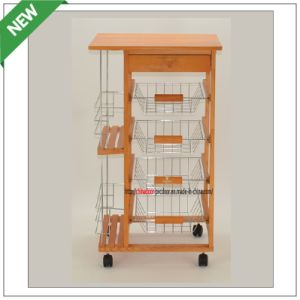(SM-CC-018) Pine Wood and Wire Basket Kitchen Trolley