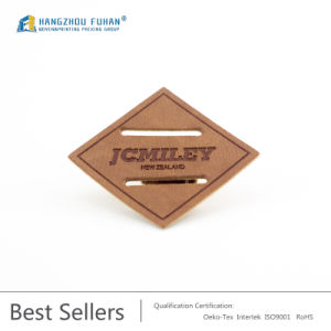 Customized Square Thin Cutout Leather Label pictures & photos