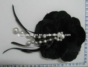 Black Velvet Pearl Beads Dangled Fabric Flower Corsage (SFC0560)