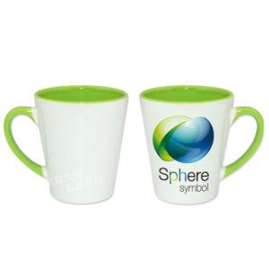 12oz Ceramic Mug Green Inner &Rim Color Latte Mug pictures & photos