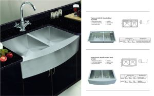 Upc Double Bowl Stainless Steel Handmade Kitchen Sink (sgp-008) pictures & photos