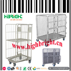 Supermarket Heavy Duty Metal Rolling Container Nestable Pallet Cage pictures & photos