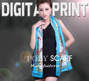 High Quality 100% Digital Printed Poly Scarf pictures & photos