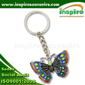 Souvenir Shiny Silver Plated Oil-Filled Butterfly Metal Key Chain pictures & photos