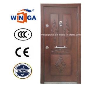 Nigera Marmet Popular Steel MDF Wood Veneer Armored Door (W-T06) pictures & photos