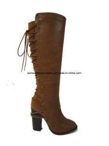 Wholesale Chunky High Heel Overknee Women Boots with Lace pictures & photos
