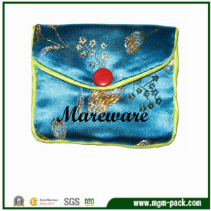 Hot Sale Mini Rectangle Blue Satin Bag with Red Button pictures & photos