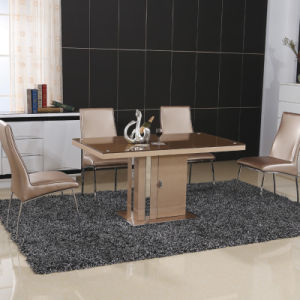 Modern Chinese Home Glass Metal Leather Dining Room Furniture (ET72 & EC62)