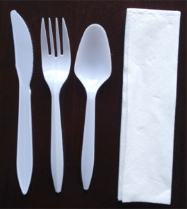 Plastic Fork and Knife Dinner Set with Napkin Tissue pictures & photos
