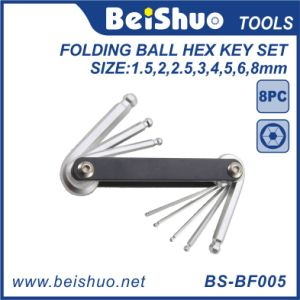 Metal 8in1 Metric Folding Ball Hex Key Set pictures & photos