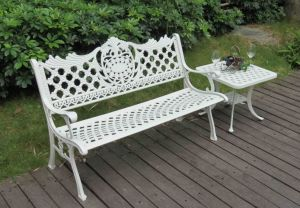 New Style Crown Flower Design Cast Aluminum Powder Coated Backyard Outdoor Patio Garden Bench pictures & photos