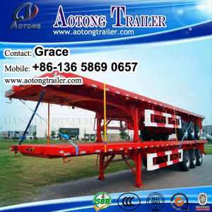 China Manufacturer Wholesale Price Tri Axle 20FT 40FT Flatbed Semi Trailer pictures & photos